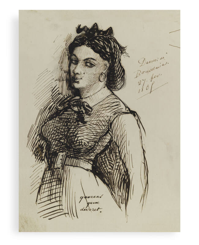 Jeanne Duval portrait, a drawing by Charles Baudelaire